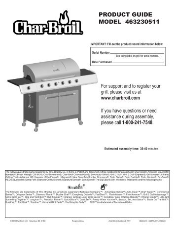 PRODUCT GUIDE MODEL 463230511 - Char-Broil Grills