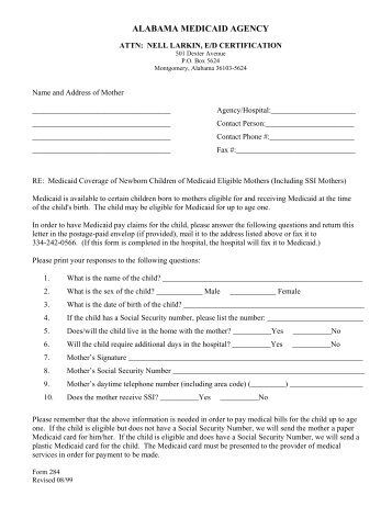 Eligibility requirements for medicaid for pregnant women and newborn children of medicaid eligible mothers application form 284 ccuart Images
