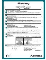 Nr. PRESTATIEVERKLARING ARM 1.06 - Armstrong