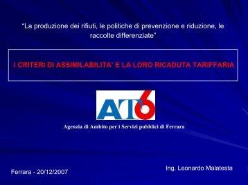 I confini del sistema i criteri di assimilabilità - Provincia di Ferrara