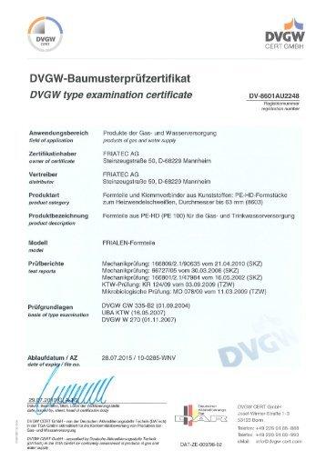 DVGW FRIALEN Formteile d20 - d63 - Friatec AG