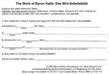 Arbeitsblatt: Untersuche eine Ãœberzeugung - The Work of Byron Katie