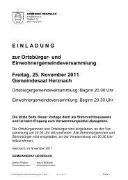 und Einwohnergemeindeversammlung Freitag, 25. November 2011 ...