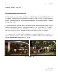 Press Release 01 October 2007 Page 1 of 2 On Show Solutions For ...