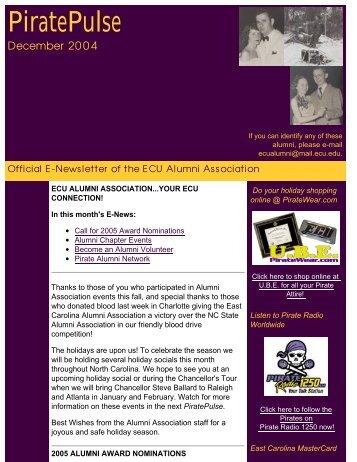 Enews December 2004 - PirateAlumni.com
