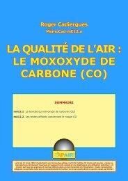 LA QUALITÉ DE L'AIR : LE MOXOXYDE DE CARBONE (CO)