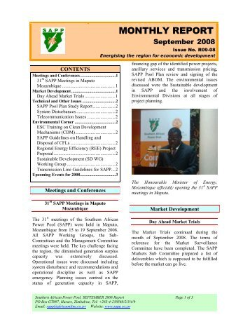 Kafue gorge regional training centre southern african power pool monthly report southern african power pool sciox Images