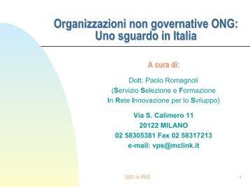 Organizzazioni non governative ONG: Uno sguardo in Italia