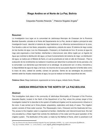 Riego Andino en el Norte de La Paz, Bolivia ANDEAN IRRIGATION ...