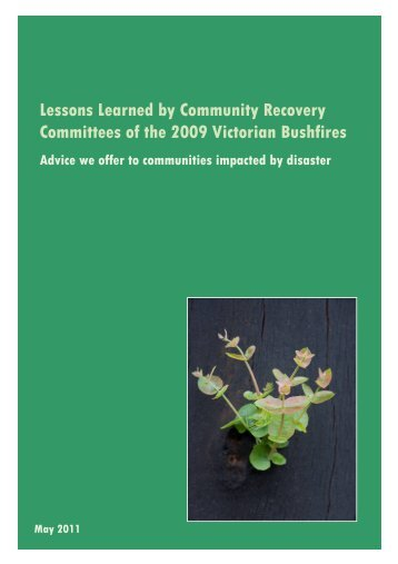 Lessons Learned by Community Recovery Committees of the 2009 ...