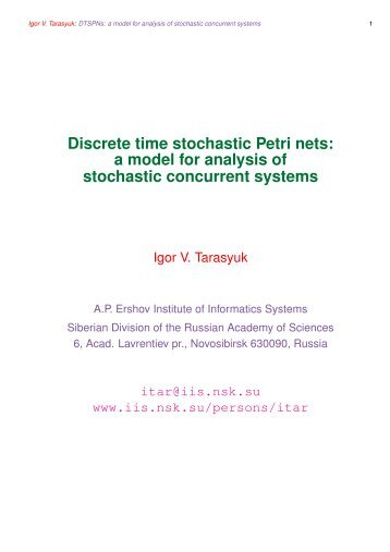 Discrete time stochastic Petri nets: a model for analysis of stochastic ...