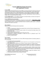 Toronto CREW Real Estate Scholarship 2013 Application Process