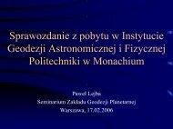 Sprawozdanie z pobytu w Instytucie Geodezji Astronomicznej i ...