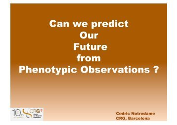 Can we predict Our Future from Phenotypic Observations ? - T-Coffee