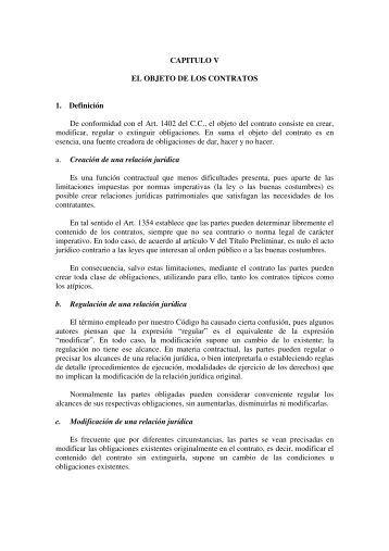 CAPITULO V EL OBJETO DE LOS CONTRATOS 1. Definición De ...