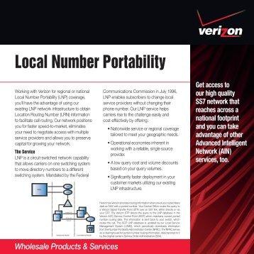 Local Number Portability - Verizon