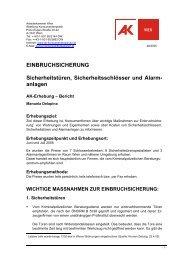 EINBRUCHSICHERUNG Sicherheitstüren ... - Arbeiterkammer Wien