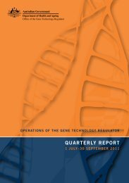 Quarterly Report September 2011 - Office of the Gene Technology ...