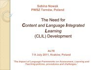 The Need for Content and Language Integrated Learning ... - ALTE