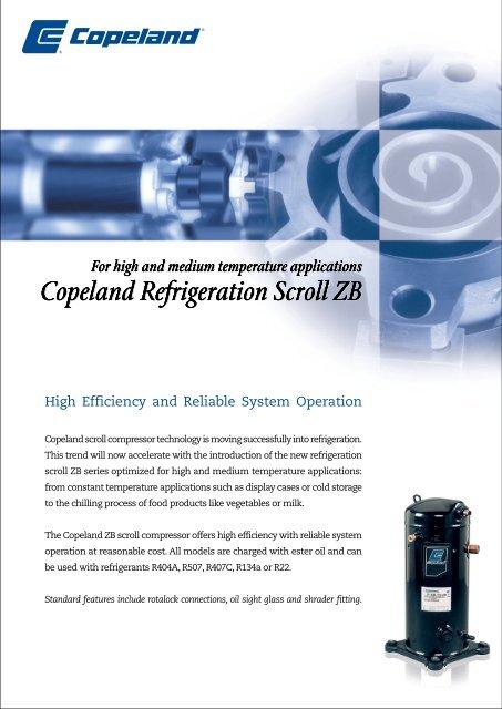 Copeland Refrigeration Scroll ZB Copeland Refrigeration