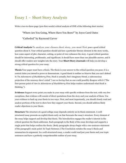 Essay 1 – Short Story Analysis - Dr  Mark Womack