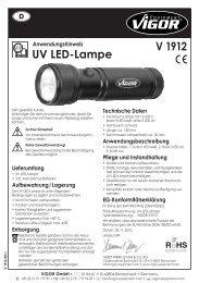 V1912 UV LED Lampe - Vigor Equipment