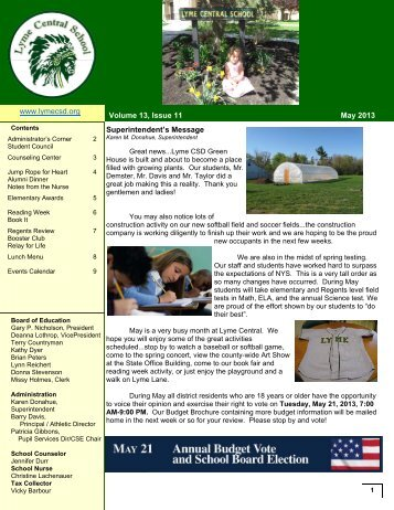 May 2013 Newsletter - Lyme Central School