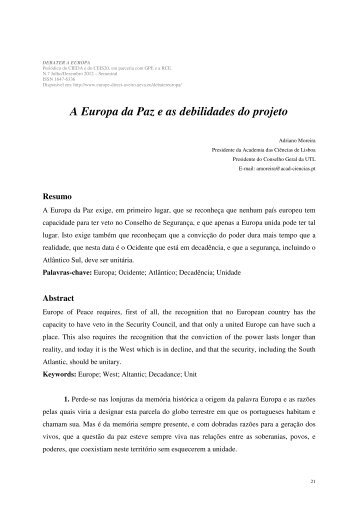 A Europa da Paz e as debilidades do projeto - Europe Direct Aveiro ...
