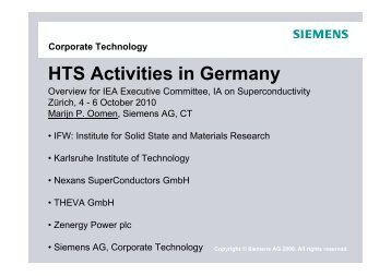 HTS Activities in Germany - High-Temperature Superconductivity