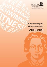 Hochschulsport Wintersemester - Goethe-Universität