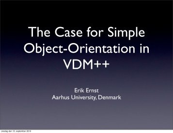 The Case for Simple Object-Orientation in VDM++ - Wiki