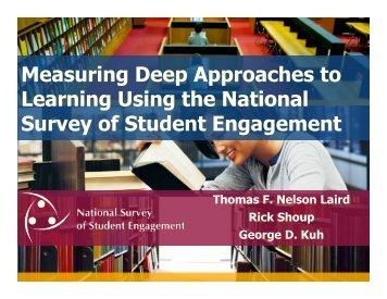 Measuring Deep Approaches to Learning Using the ... - NSSE