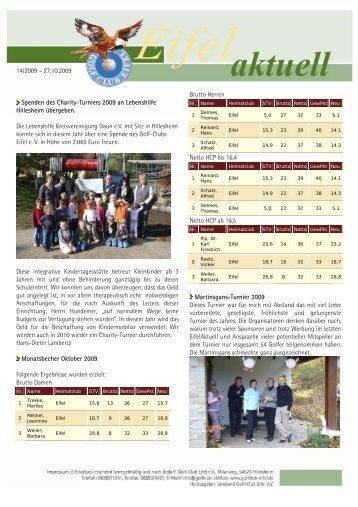 14/2009 – 27.10.2009 Spenden des Charity ... - Golf Club Eifel e.V.