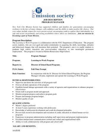 AA/EOE JOB DESCRIPTION PROGRAM MANAGER Program ...