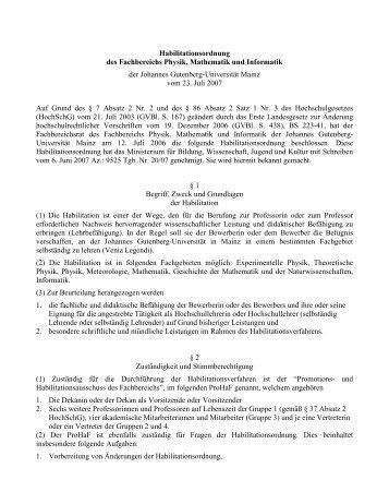 Habilitationsordnung des Fachbereichs Physik, Mathematik und ...