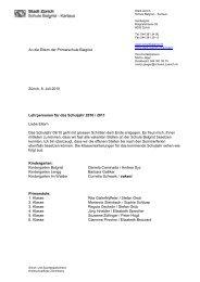 Information Lehrpersonen 10/11 - Schule Balgrist