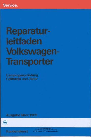 Download VW Westfalia California and Joker Repair Manual in ...