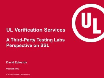 UL Verification Services - DLC Stakeholder Meeting