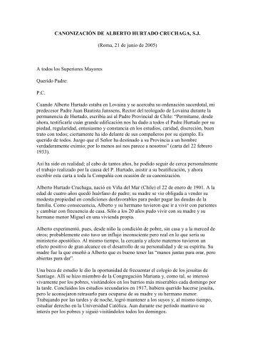 CANONIZACIÓN DE ALBERTO HURTADO CRUCHAGA, S.J. ...