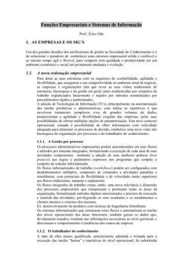 Funcoes Empresariais e Sistemas de Informacao - Prof Erico ... - FESP