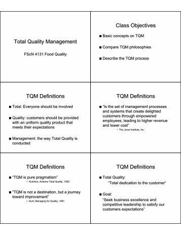 Total Quality Management Class Objectives TQM Definitions TQM ...