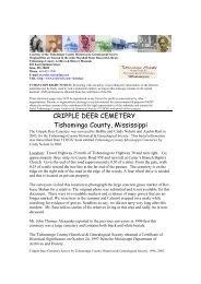 CRIPPLE DEER CEMETERY Tishomingo County, Mississippi