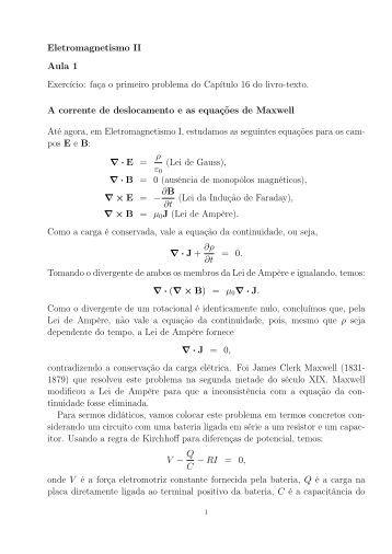 Eletromagnetismo II Aula 1 Exercício: faça o primeiro ... - IFSC