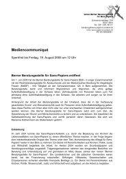 Mediencommuniqué vom 15. August 2005 - Sans Papiers