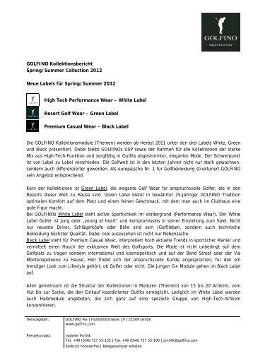 GOLFINO Kollektionsbericht Spring/Summer Collection 2012 Neue ...