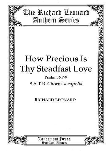 How Precious Is Thy Steadfast Love