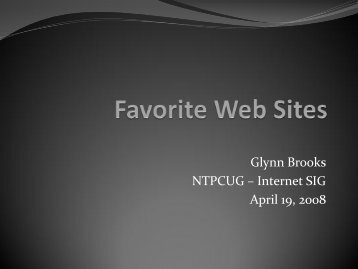 200804 Favorite Web Sites - North Texas PC User's Group