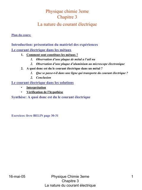 Physique Chimie 3eme Chapitre 3 La Nature Du Courant A C Lectrique