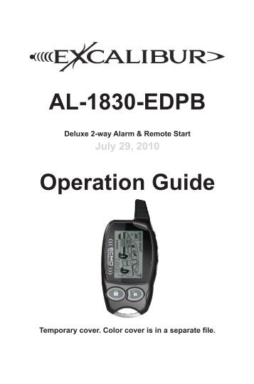 AL-1830-EDPB Operation Guide - car alarm