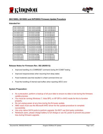 Kingston SE100S37/100GBK SSD Driver
